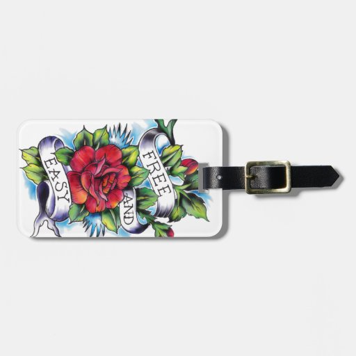 Free and Easy Roses Tattoo Artwork. Bag Tag