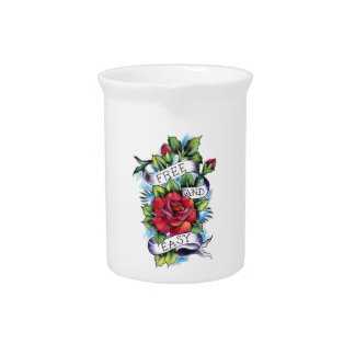 Free and Easy Roses Tattoo Artwork. Drink Pitcher