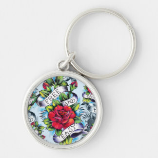 Free and Easy watercolor rose tattoo art. Silver-Colored Round Keychain