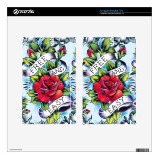 Free and Easy watercolor rose tattoo art. Skins For Kindle Fire