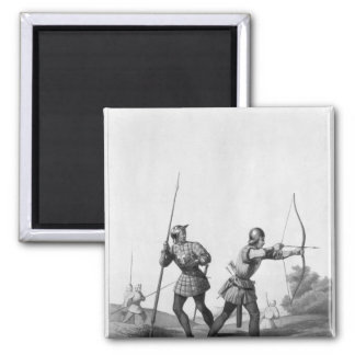 Free archers during the reign of Louis XI 2 Inch Square Magnet