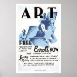 Free Art Classes 1936 WPA Poster
