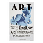 Free Art Classes 1936 WPA Poster