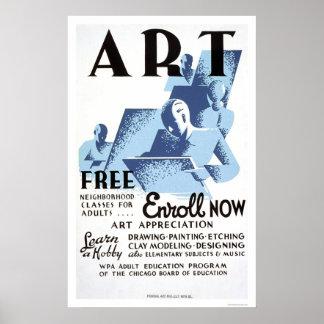 Free Art Classes 1936 WPA Posters