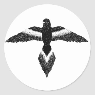 free as a bird black and white round stickers