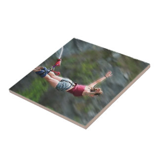 Free as a Bird Bungee Jumping Small Square Tile