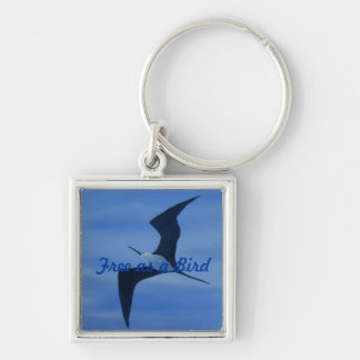 Free as a Bird Keyring Silver-Colored Square Keychain