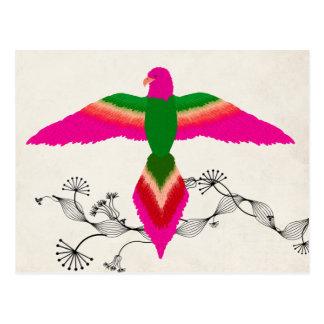 free as a bird pink postcard