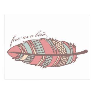 Free As A Bird Tribal Feather Postcard