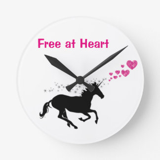 free at heart unicorn sillouette wall clock