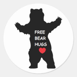 free bear hugs classic round sticker