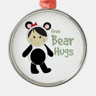 Free Bear Hugs Round Metal Christmas Ornament