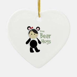 Free Bear Hugs Double-Sided Heart Ceramic Christmas Ornament