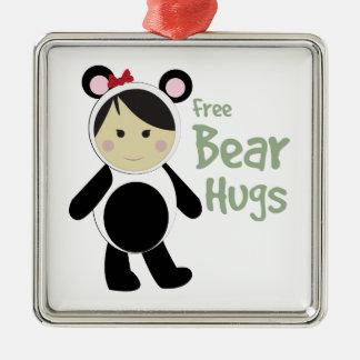 Free Bear Hugs Square Metal Christmas Ornament