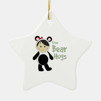Free Bear Hugs Double-Sided Star Ceramic Christmas Ornament