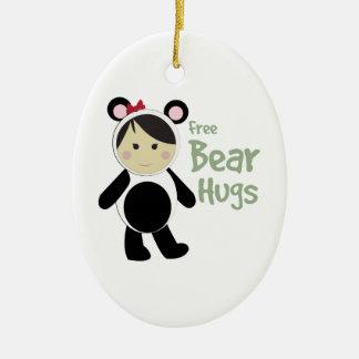 Free Bear Hugs Double-Sided Oval Ceramic Christmas Ornament
