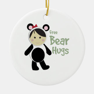 Free Bear Hugs Double-Sided Ceramic Round Christmas Ornament