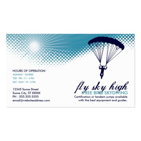 Blue and White Sky Diver Silhouette Sky Diving Business Cards