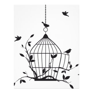 Free birds with open birdcage letterhead
