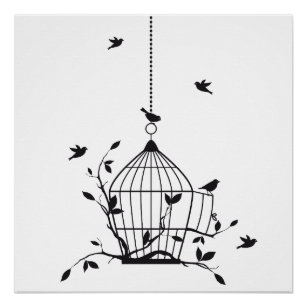 free bird posters photo prints zazzle Bird Sleeping Bag free birds with open birdcage poster