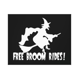 Free Broom Rides Funny Witch Gallery Wrap Canvas