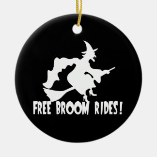 Free Broom Rides Funny Witch Christmas Ornament