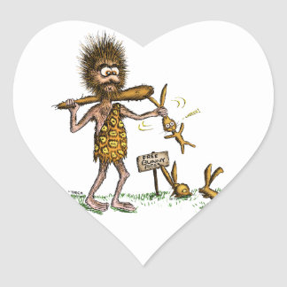 Free Bunny Rides - Caveman Heart Sticker