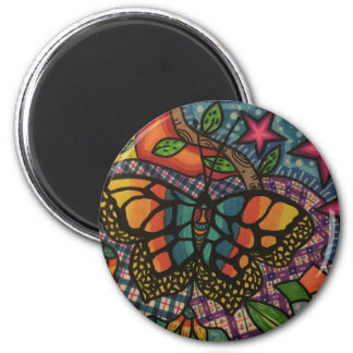 Free butterfly 2 inch round magnet