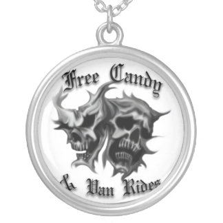 free candy and van rides silver plated necklace