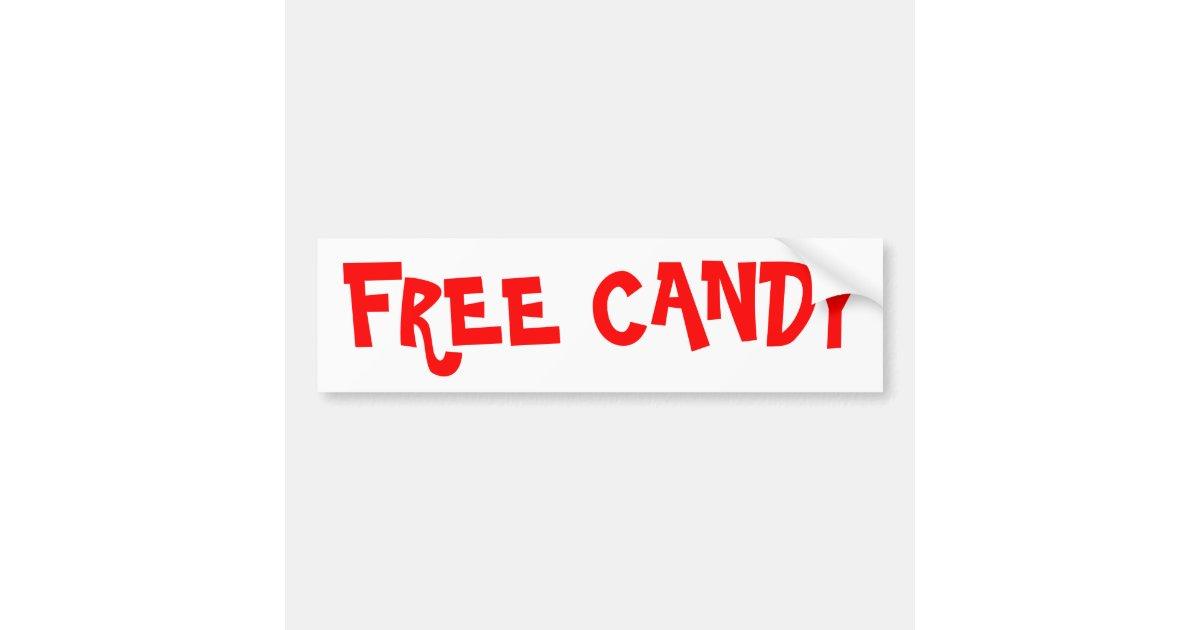 Free Candy Bumper Sticker | Zazzle