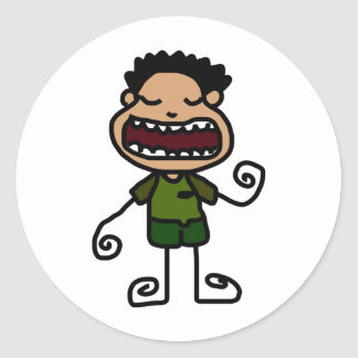 Free Characters by Jaidee Family Classic Round Sticker