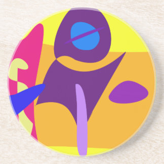 Free Colorful Digital Abstract Painting Drink Coaster