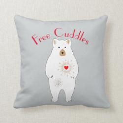Free Cuddles Cute Teddy Bear Design Throw Pillow