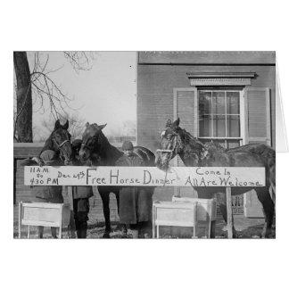 Free Dinner for Horses, 1923 Greeting Card