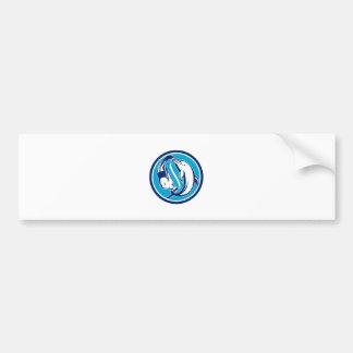 Free Diver and Dolphin Yin Yang Circle Retro Bumper Sticker