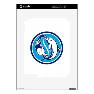 Free Diver and Dolphin Yin Yang Circle Retro Decals For iPad 2