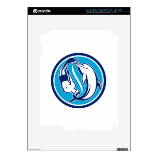 Free Diver and Dolphin Yin Yang Circle Retro iPad 3 Decals