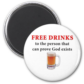 Free Drinks 2 Inch Round Magnet