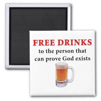 Free Drinks 2 Inch Square Magnet
