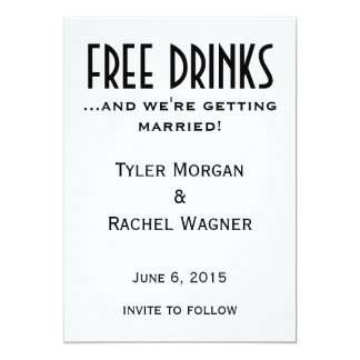 """Free Drinks"" Save the Dates Card"