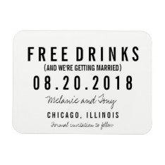 Free Drinks Wedding Save The Date Magnets at Zazzle