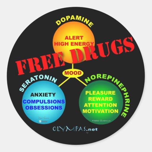 Free Drugs for the Brain Round Sticker