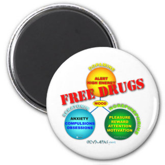 Free Drugs in the Brain 2 Inch Round Magnet