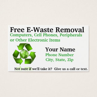 Free E-Waste Removal Business Card