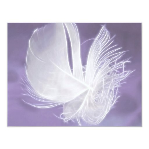 Free Falling feather on purple background 4.25x5.5 Paper Invitation Card