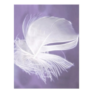 Free Falling feather on purple background Flyer