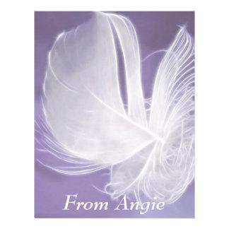 Free Falling feather on purple background Letterhead