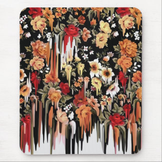 Free Falling Melting floral pattern Mouse Pad