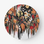 Free Falling Melting florals Round Clocks