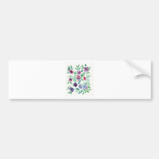 Free Floral - Blue, Purple, Green Vines Greenery Bumper Sticker